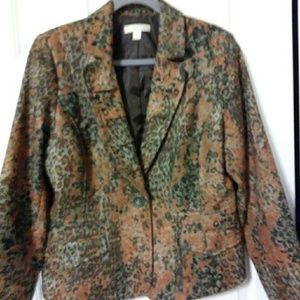 Coldwater Creek animal print Blazer size 14